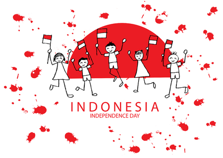 Hand tekening jongen en meid bedrijf vlag. Onafhankelijkheidsdag van Indonesië.