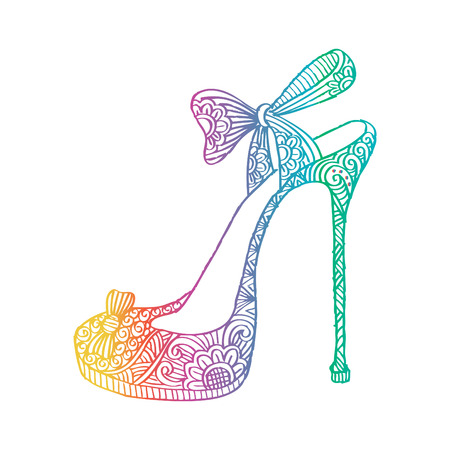 High heel shoes. Zentangle style.
