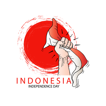 Hand met een rode en witte Indonesische vlag. Onafhankelijkheidsdag viering van Indonesië Stock Illustratie