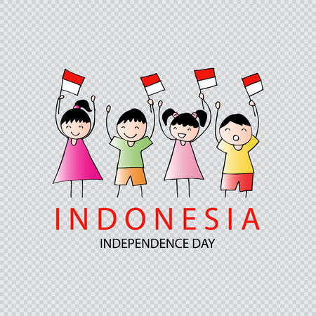 Hand drawing boy and girl holding flag. Independence day of Indonesia. Ilustrace