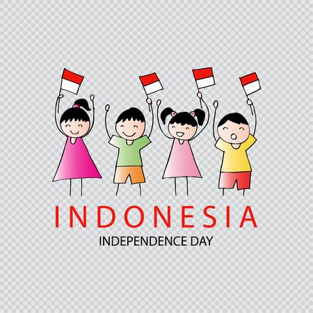 Mano Dibujo Boy And Girl Holding Bandera. Día De La Independencia De ...