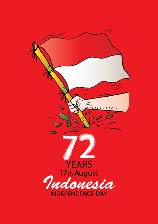 72 Years Indonesian Independence day logo Concept Illustration