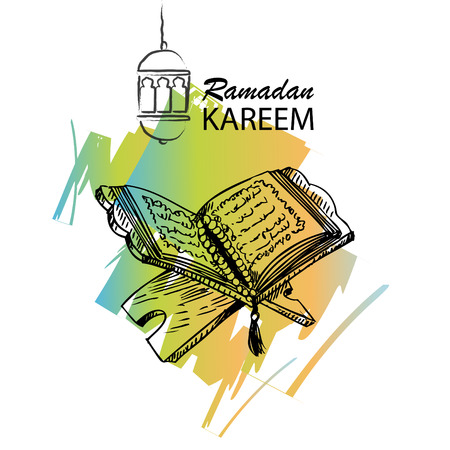 The holy book of the Koran on the stand with lettering ramadan kareem.