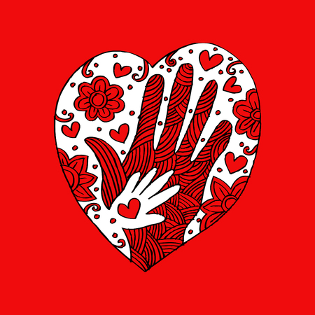 Hands with heart. Hand drawing illustration. Illustration