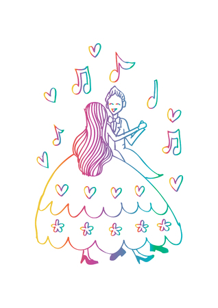 Dancing Couple. Hand drawing illustration.