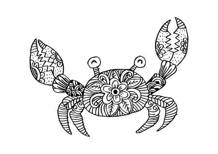 Doodle crab illustration. Vecteurs