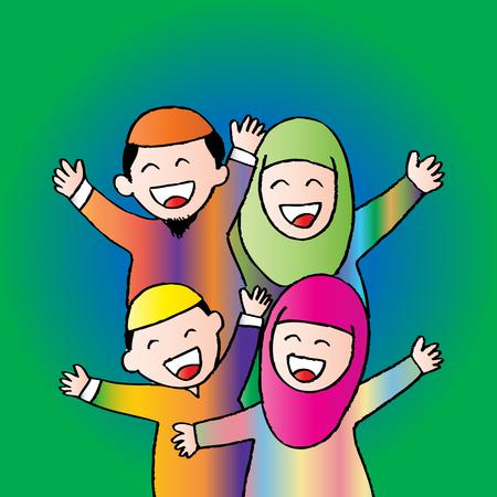 Happy Muslim family
