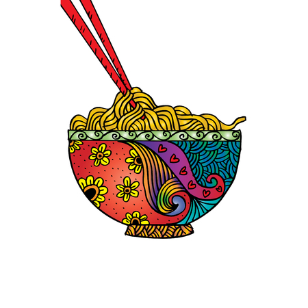 Hand drawn doodle Noodle at bowl and stick.