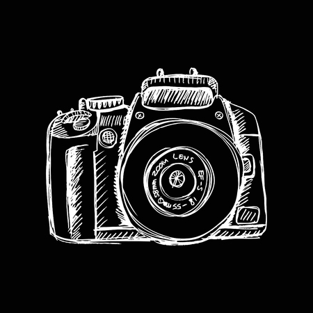 photography equipment: Vector sketch illustration -photo camera