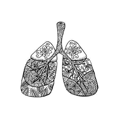 Lungs in Zentangle style
