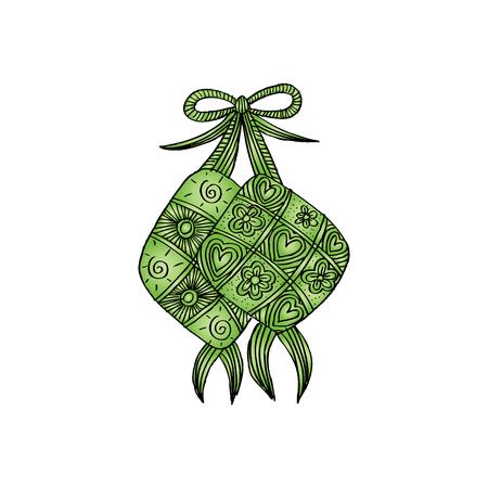 Ketupat Indonesian fraditional Food. Zentangle style Illusztráció