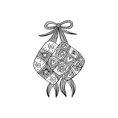 Ketupat Indonesian fraditional Food. Zentangle style Illustration