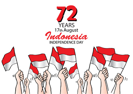Independence Day card with flag Illustration