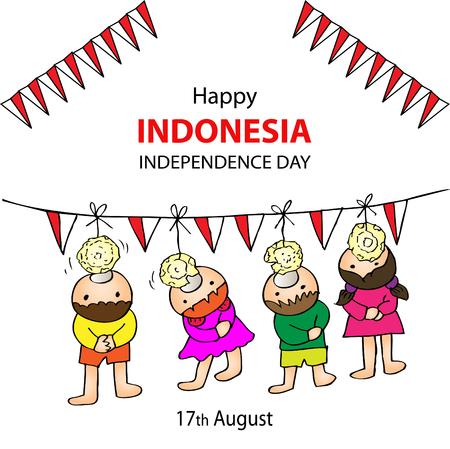幸せのインドネシア独立記念日。8 月 17 日インドネシア ゲームお祝い