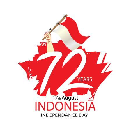 72 jaar Indonesische onafhankelijkheidsdag Concept