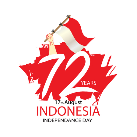 72 Years Indonesian Independence day Concept 向量圖像