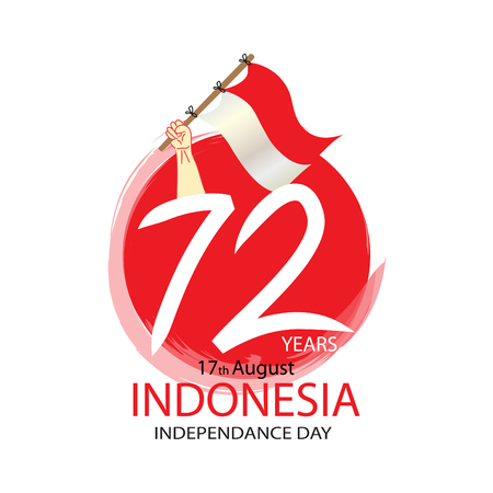72 Years Indonesian Independence day Concept Illustration