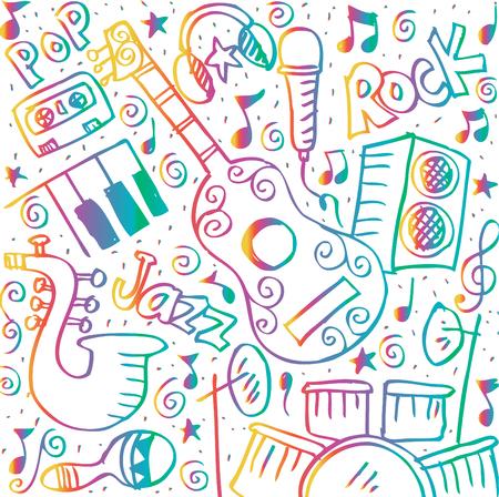 Music Doodle background. Stock Illustratie