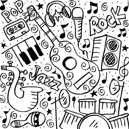 Music Doodle background. Illustration