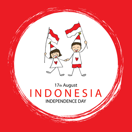 Hand drawing boy and girl holding flag. Independence day of Indonesia. 版權商用圖片 - 82078604