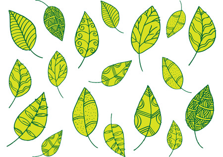 abstract flowers: Leaf pattern in doodle style