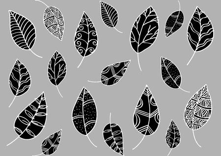 fall leaves: Leaf pattern in doodle styleLeaf pattern in doodle style