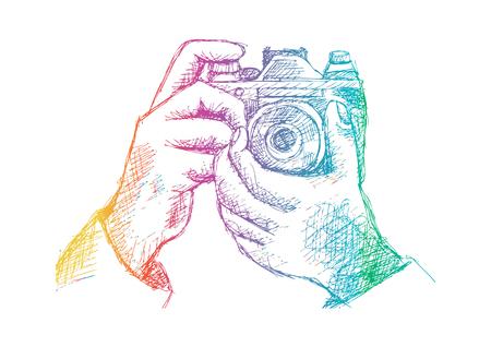 カメラを持って 2 つの手。手の図面の図。