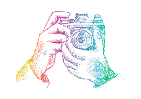Two Hands Holding a Camera. Hand drawing illustration.