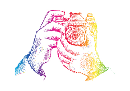 mirror image: Two Hands Holding a Camera. Hand drawing illustration.