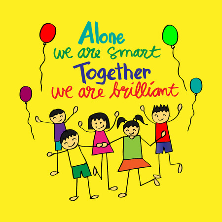 Steven Anderson quote: Alone we are smart. Together we are.brilliant. 向量圖像