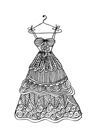 Women's dress on a hanger. Zentangle style.