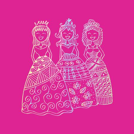 Fashion little girls. Zentangle style. Illustration