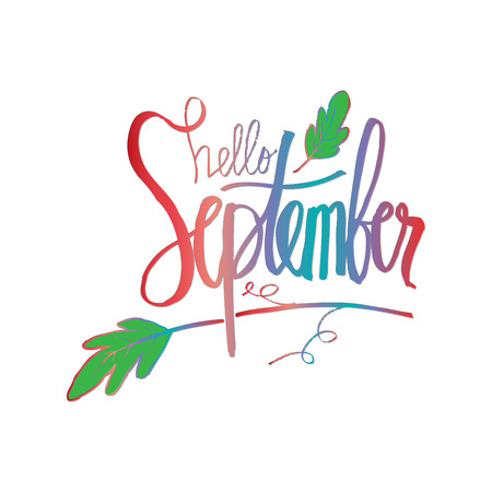 Hello September hand lettering calligraphy