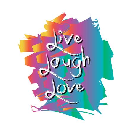 손으로 그려진 된 인쇄술 포스터 라이브 웃음 사랑을 그려.