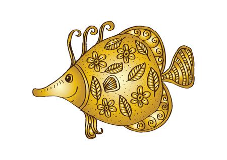 Fish with decorative ornament.
