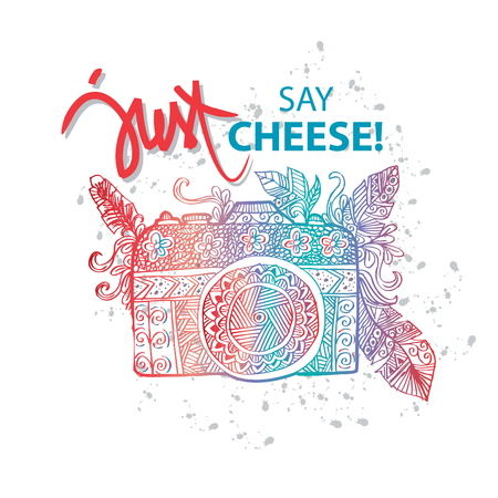 love pic: Photo camera with just say cheese! hand lettering. Illustration
