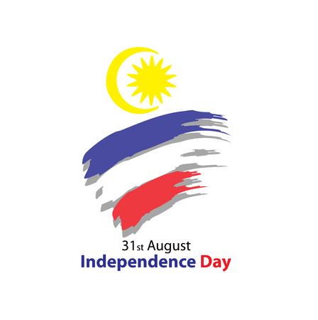 31 de agosto Tarjeta de Celebración. Día de la Independencia de Malasia Foto de archivo - 84224487