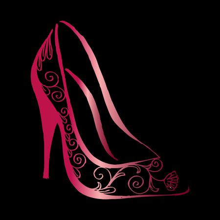 Decoratieve hoge hakken schoenen. Stockfoto - 85247047
