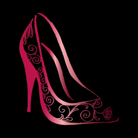 Decorative high heel shoes. 向量圖像