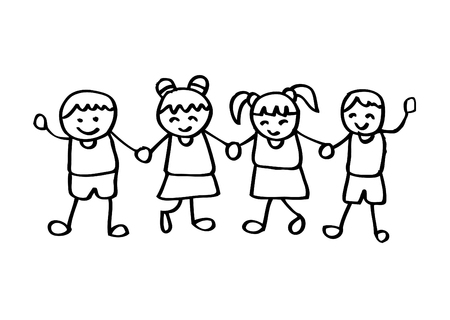 Little kids holding hands Illustration