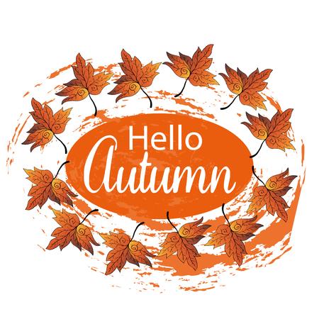Hello Autumn Card. Illustration