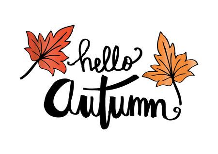 Hello autumn hand drawn lettering