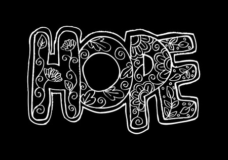 hopeful: Word hope decorative stylized Illustration