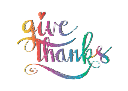 Give thanks hand lettering Illustration