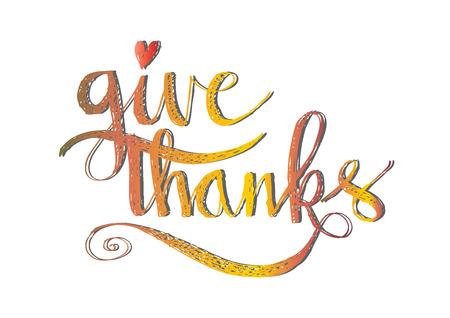 Give thanks hand lettering Illustration