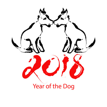 Chinese new year greeting card with a dog