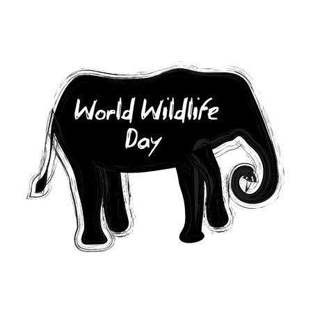 World wildlife day lettering with silhouette of Elephant