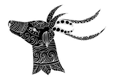 Hand drawn deer head  イラスト・ベクター素材