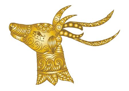 Hand drawn deer head.  イラスト・ベクター素材