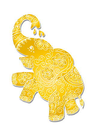 Cute elephant standing with white background.